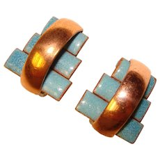 Awesome MATISSE Signed Aqua Blue Vintage Enamel Clip Earrings