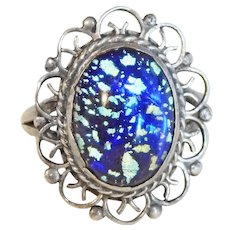 Gorgeous Mexican STERLING & FOIL GLASS Vintage Ring - Size 6 3/4