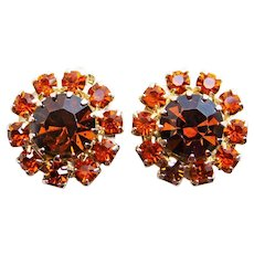 Gorgeous WEISS Signed Brown & Orange Rhinestone Vintage Clip Earrings - Autumn Fall Colors