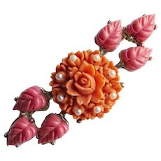 Gorgeous CORAL CELLULOID Flower Vintage Brooch