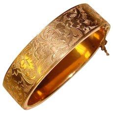 Fabulous Gold Filled Patterned Antique Bangle Bracelet