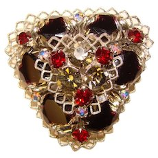 Fabulous Black & Red GIVRE GLASS Vintage Rhinestone Brooch