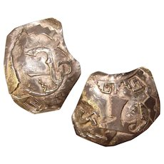 Fabulous STERLING Artisan Made Large Hieroglyphic Design Vintage Clip Earrings