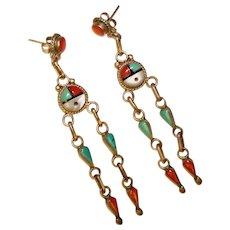 Fabulous Zuni SUNFACE Design Turquoise & Coral Dangle Earrings