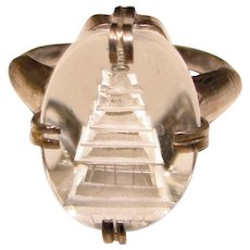 Gorgeous GLASS CRYSTAL PAGODA Sterling Vintage Ring