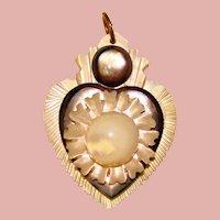 Fabulous Antique Victorian Sailor's Valentine Mother of Pearl Pendant