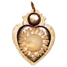 Fabulous Antique Victorian Sailor's Valentine Mother of Pearl Pendant