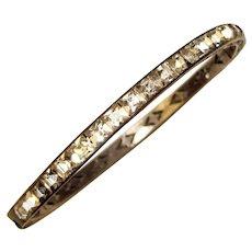 Fabulous STERLING Art Deco Channel Set Square Rhinestones Bangle Bracelet