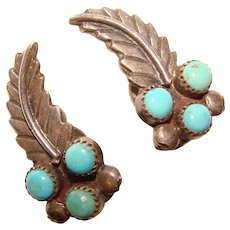Gorgeous STERLING & TURQUOISE Stones Vintage Clip Earrings