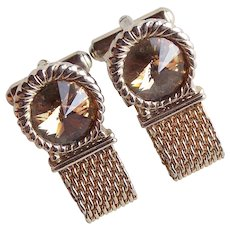 Awesome RIVOLI RHINESTONE Mesh Wrap Vintage Cufflinks - Fawn Brown