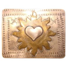 Awesome STERLING  Sandy Comstock Vintage Burning Heart Pin Brooch