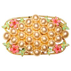 Gorgeous Colored Flower Faux Pearls Vintage Brooch