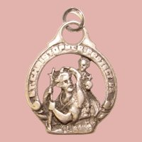 Awesome STERLING St. Christopher Openwork Design Pendant