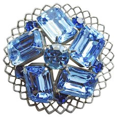 Gorgeous Light Blue & Capri Blue Rhinestone Vintage Brooch