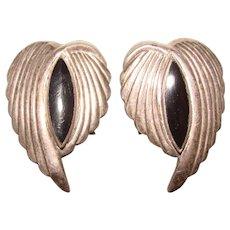 Gorgeous STERLING & Black Stone Vintage Clip Earrings
