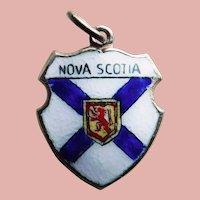 Vintage NOVA SCOTIA Sterling & Enamel Estate Charm - Travel Souvenir of Canada - Canadian