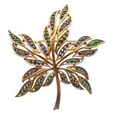 Fabulous TRIFARI Signed Blue & Green Rhinestone Vintage Maple Leaf Brooch