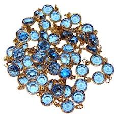 Gorgeous BEZEL EDGE SET Blue Colored Austria Crystal Stone Necklace