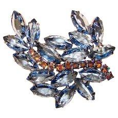 Fabulous BLUE Navette Rhinestone Aurora Vintage Brooch