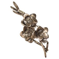 Gorgeous STERLING Branch of Flowers Vintage Brooch