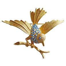 Super Cute BIRD on Branch Blue Aurora Rhinestone Vintage Brooch