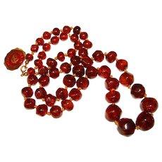 Fabulous COPENHAGEN DENMARK Amber Beads Necklace - 41 Grams