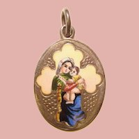 Fabulous Sterling Antique Enameled Two-Sided Religious Pendant - Mary & Jesus