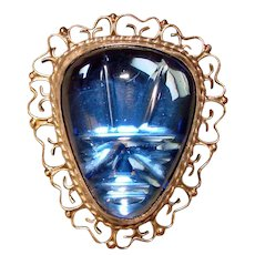 Awesome MEXICAN STERLING Carved Blue Face Vintage Pendant Brooch