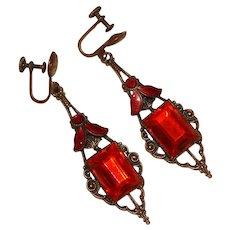 Fabulous ART DECO Orange Red Glass Enameled Dangle Earrings