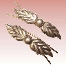Fabulous MEXICAN STERLING Vintage Hair Barrettes Set