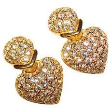 Gorgeous CHRISTIAN DIOR Heart Shaped Rhinestone Clip Earrings