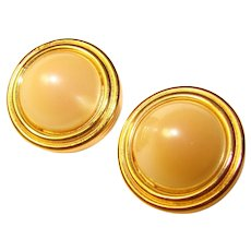 Fabulous Vintage GIVENCHY Faux Pearl High Dome Clip Earrings