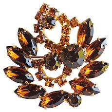 Gorgeous Brown & Amber Rhinestone Vintage Brooch - Autumn Fall Colors