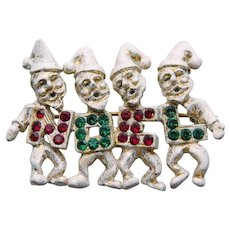Awesome DODDS Vintage Christmas Elf Elves Brooch - Noel Rhinestones