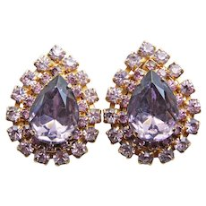 Gorgeous CORO Purple & Lavender Rhinestone Vintage Earrings - Signed