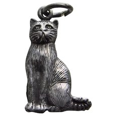 Sterling CAT Vintage Estate Charm