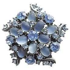 Gorgeous FLORENZA Signed Blue Rhinestone Vintage Brooch