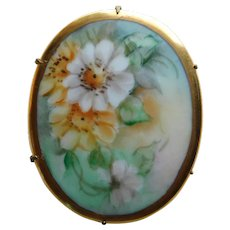 Antique Hand Painted Old Fashioned Roses Porcelain Brooch