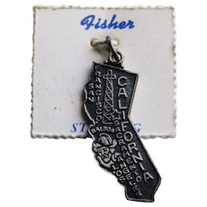 Sterling California Vintage Estate Charm - State Souvenir - on Original Card