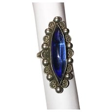 Fabulous TAXCO STERLING Vintage Blue Stone Ring
