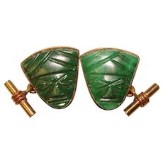 Awesome MEXICO Carved Green Stone Vintage Cufflinks