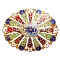 Fabulous Antique ENAMELED Ornate Estate Brooch
