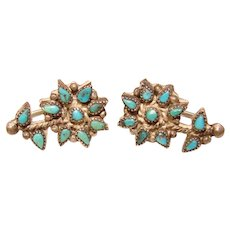 Gorgeous STERLING & TURQUOISE Flower Design Vintage Earrings