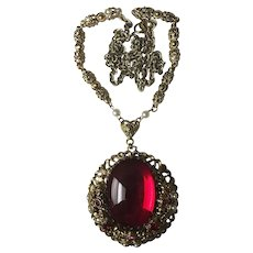 Fabulous Red Glass Stone West Germany Vintage Necklace