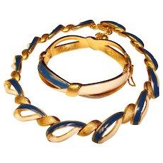 Fabulous TRIFARI Signed Blue & White Enameled Necklace & Bracelet Set
