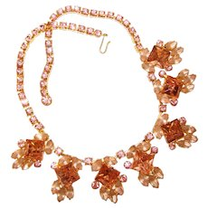 Fabulous D&E JULIANA Pink Rhinestone Vintage Necklace Set