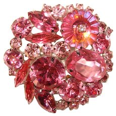 Fabulous WEISS Signed Pink Rhinestone Vintage Brooch