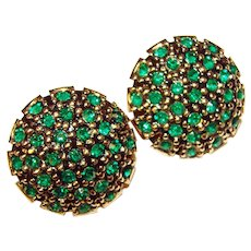 Gorgeous VENDOME Signed Green Rhinestone Vintage Earrings