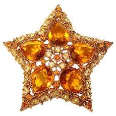 Gorgeous KENNETH LANE Signed KJL Amber Rhinestone Star Shaped Brooch