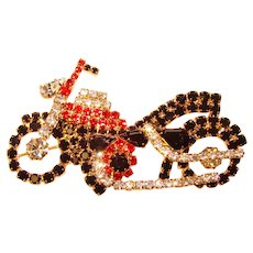 Awesome Figural MOTORCYCLE Rhinestone Brooch